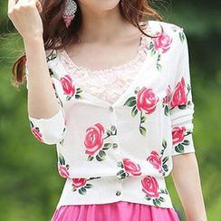 Coralie - 3/4 Sleeved Floral Print Knit Cardigan