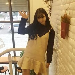 QZ Lady - Long-Sleeve Mock Two Piece Dress