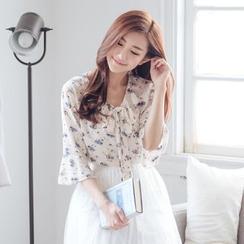 Tokyo Fashion - Tie-Neck Floral Chiffon Top