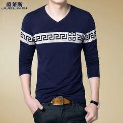 Jazz Boy - Long-Sleeve V-Neck Paneled T-Shirt