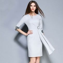 Cherry Dress - Elbow-Sleeve Sheath Dress