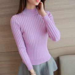 Yamster - Mock-neck Knit Top