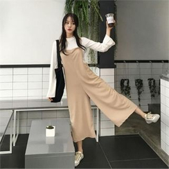 QNIGIRLS - Wide-Leg Cropped Jumpsuit
