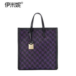 Emini House - Genuine Leather Houndstooth Woven Tote