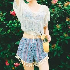 Jewegi - 套裝: 印花坦基尼 + 蕾絲罩衣
