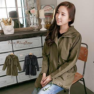 RingBear - Drawstring Hooded Long Jacket