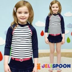 JELISPOON - Girls Set: Striped Rashguard + Belted-Detail Bottom + Swim Hat