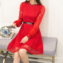 Queen Bee - Long-Sleeve A-line Lace Dress with Belt