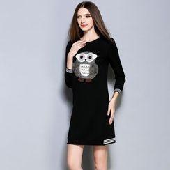 巧妮兒 - 長袖貓頭鷹連衣裙