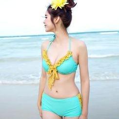 Rachel Swimwear - Set: Ruffled Bikini + Floral Top + Skirt