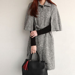 NIPONJJUYA - Wool Blend Herringbone Cape Coat