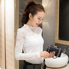 Lovebirds - Buttoned Long-Sleeve Lace Top
