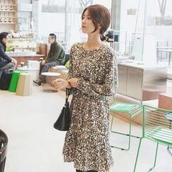 mimi&didi - Frill-Hem Flower Pattern Dress with Sash