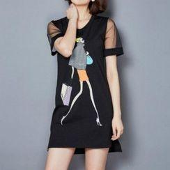 lilygirl - Printed Short-Sleeve Dress