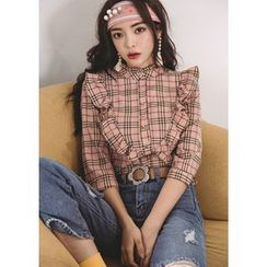 Chlo.D.Manon - 3/4-Sleeve Frilled Plaid Blouse
