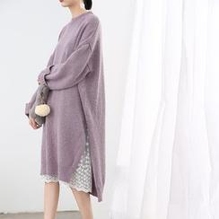 HORG - Set: Long-Sleeve Knit Midi Dress + Lace Midi Skirt
