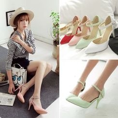 Pastel Pairs - Ankle Strap Pointy Pumps