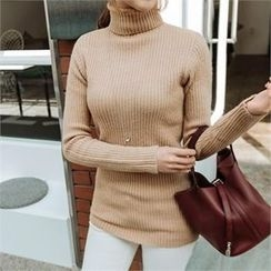 JOAMOM - Mock-Neck Rib-Knit Top