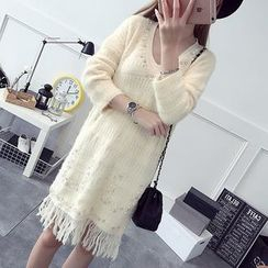 NEUF - Long-Sleeve Fringe Hem Knit Dress