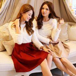 Tokyo Fashion - Beaded Furry-Knit Panel Dress
