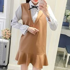 NEUF - Maternity Long-Sleeve Mock Two Piece A-line Dress