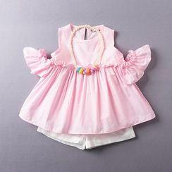 Kidora - 儿童套装: 镂空肩皱褶上衣 + 短裤