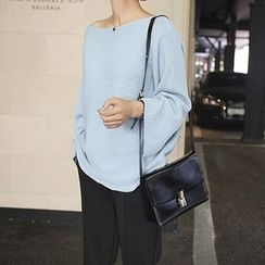 STYLEBYYAM - Boat-Neck Wide-Sleeve Knit Top