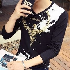 Besto - Printed V-Neck Long-Sleeve T-Shirt