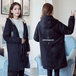 Soswift - Maternity Printed Hooded Long Jacket