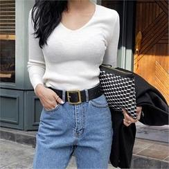 LIPHOP - V-Neck Slim-Fit Knit Top