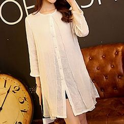 Romantica - Silk-Overlay Long Shirt