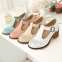 Sidewalk - Brogue T-Strap Pumps