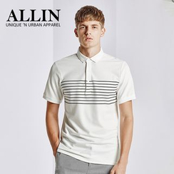 ALLIN - Striped Short Sleeve Polo Shirt