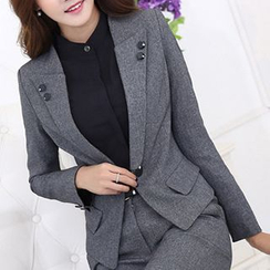 Mija - Plain Blazer / Skirt / Trousers / Blouse Set