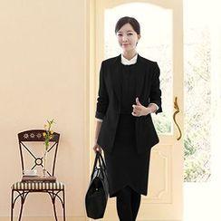 Aision - Hidden-Hook Blazer / Contrast-Trim Blouse / Pencil-Cut Skirt