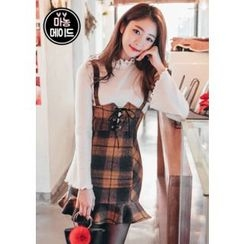 Chlo.D.Manon - Lace-Up Plaid Mini Suspender Dress