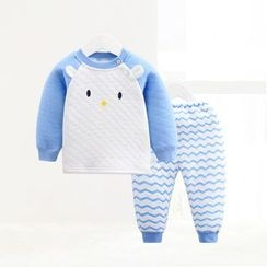 ciciibear - Kids Set: Animal Padded Top + Chevron Pants