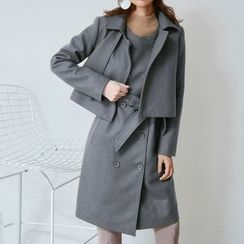 AC - Set: Cropped Wool Jacket + Double-Breasted Sleeveless Dress