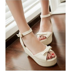 TULASI - Bow Ankle Strap Platform Sandals