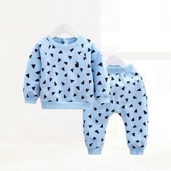ciciibear - Kids Set: Patterned Sweatshirt + Sweatpants