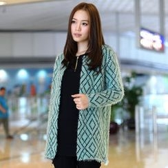 59th Street - Geometric Pattern Furry Open Front Cardigan