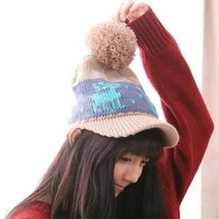 Clair Fashion - Pompom-Accent Printed Knit Cap