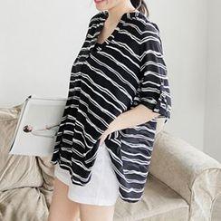 Katie Bloom - Striped Tab-Sleeve Chiffon Blouse