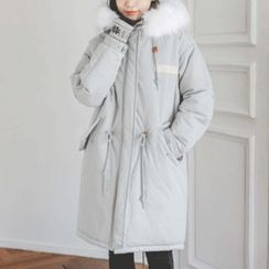 JUSTONE - Faux-Fur Trim Hood Padded Thick Parka