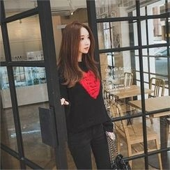ERANZI - Crew-Neck Heart Knit Top