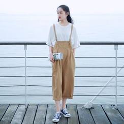 YARU - 九分寬身背帶褲