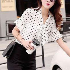 Fumoya - Polka Dot Short Sleeve Tie Neck Chiffon Shirt