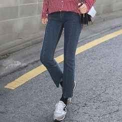 Seoul Fashion - Cutout-Hem Boot-Cut Jeans