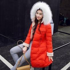 Rosehedge - Furry Trim Hooded Long Padded Coat