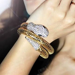 Ticoo - Rhinestone Snake Wrap Bangle